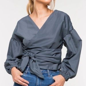 Tops - Sky Dusty blue Kimono Designer style Blouse